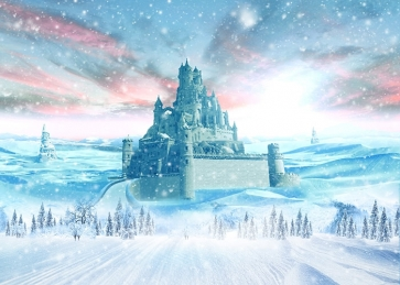 Pink Cloud Snow Covered Castle Christmas Backdrops For Stage Background