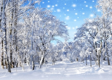 Snow Covered Forest White Christmas Backdrop For Stage Background