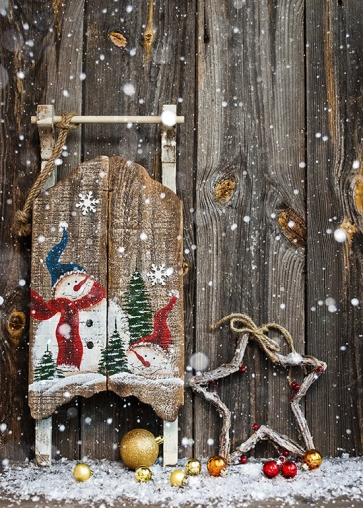 Wood Wall Snowman Christmas Background Portrait Christmas Backdrop