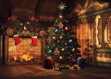 Wood Wall Fireplace Christmas Tree Background Christmas Party Backdrops