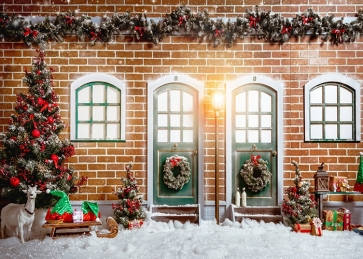 Outdoor Brick Wall Christmas Tree Background Christmas Party Backdrops