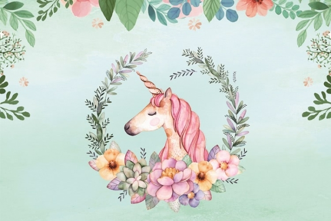 15x10ft Cartoon Unicorn Birthday Party Backdrop Baby Shower Photography Background Studio Props LYFU457