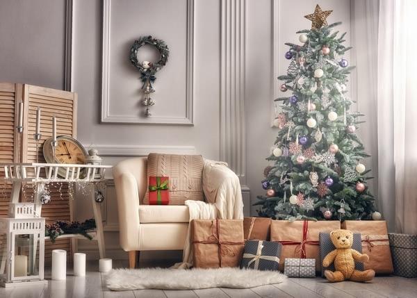 wood floor wall sofa gift box christmas tree christmas background wood floor wall sofa gift box christmas tree christmas background