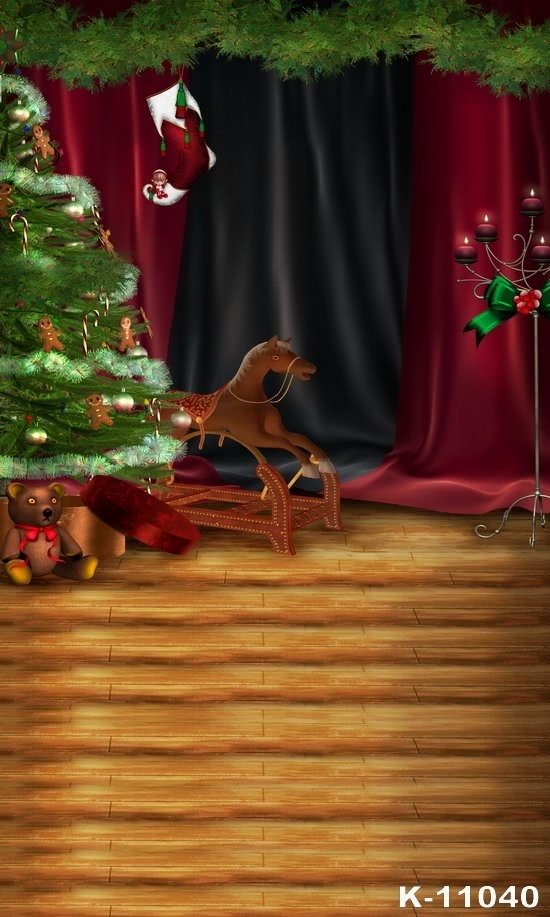 Christmas Tree Wooden Horse Photo Backdrops for Stage