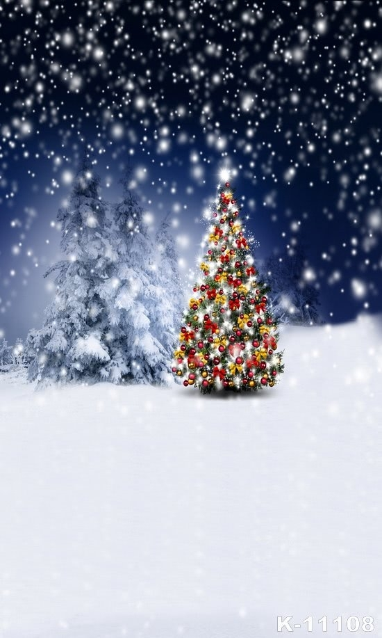 Christmas Tree in Snowy Night Christmas Backdrops for Stage