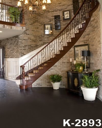 Brick Wall Rotary Steps Stairs Background Living Room Studio Backdrop