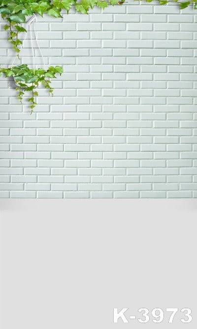 Creeping Plant White Brick Plain Wall Backdrops Custom Background