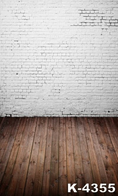 Wooden Floor Custom Background Plain White Brick Wall Backdrops