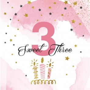 Baby Girl Sweet 3rd Birthday Backdrop Photography Background