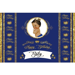Crown Theme Baby Happy Birthday Backdrop Photography Background