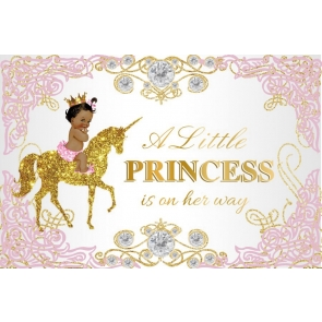 Gold Glitter Unicorn A Little Princess Is On Her Way Baby Shower Backdrop Photography Background
