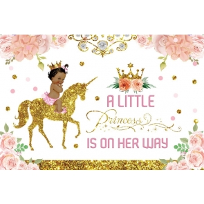 Gold Glitter Unicorn A Little Princess Is On Her Way Baby Shower Backdrop Birthday Background