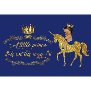 Gold Glitter Unicorn Crown A Little Princess Is On His Way Baby Shower Backdrop Birthday Background