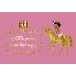 Gold Glitter Unicorn Crown A Little Princess Is On Her Way Baby Shower Backdrop Birthday Pink Photography Background