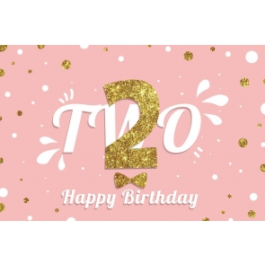 Gold Glitter 2nd Baby Girl Happy Birthday Backdrop Pink Photography Background