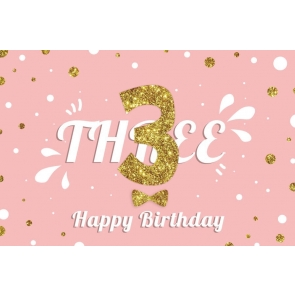 Gold Glitter Baby 3rd Happy Three Birthday Backdrop Photography Background