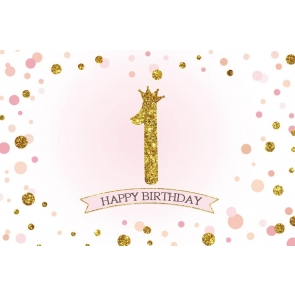 Baby Gold Glitter 1st Happy First  Birthday Backdrop Photography Background