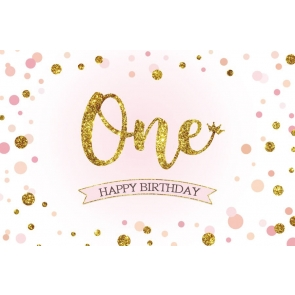 Baby Gold Glitter One Happy First Birthday Backdrop Photography Background