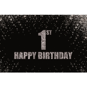 Silver Glitter Black Background Baby First 1st Happy Birthday Backdrop