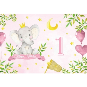 Elephant Themed Baby 1st First Birthday Backdrop Party Photography Background