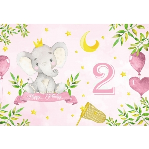 Baby Happy 2nd Birthday Elephant Backdrop Party Photography Background