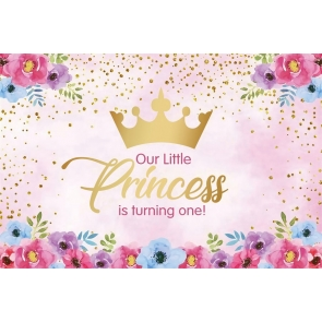 Baby Girl Little Princess Is Turning One 1st First Birthday Backdrop Party Photography Background