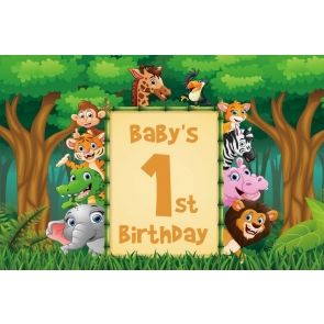 Baby 1st First Birthday Safari Wild Backdrop Party Photography Background