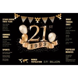 1999 Poster Happy 21st Birthday Backdrop Party Photography Background