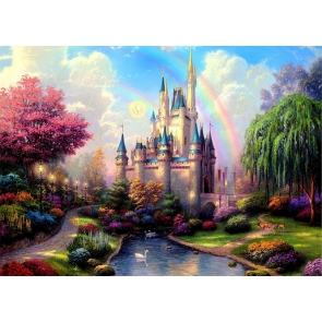 Beautiful Rainbow Princess Castle Background Party Photography Backdrop