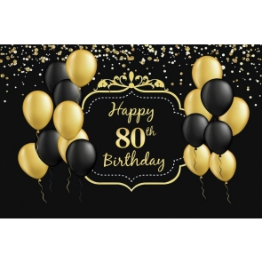 Black And Gold Balloon Theme Happy 80th Party Birthday Photography Background