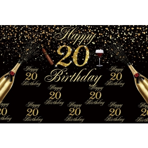 Black And Gold Happy 20th Birthday Backdrop Banner Party Photography Background