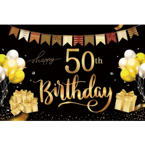 Black And Gold Happy 50th Birthday Balloon Backdrop Banner Party Photography Background