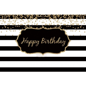 Black And White Stripe Happy Birthday Flower Backdrop Photography Background