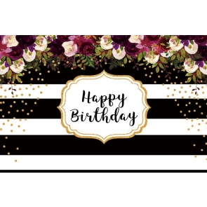 Black And White Striped Backdrop With Flowers Happy Party Birthday Photography Background