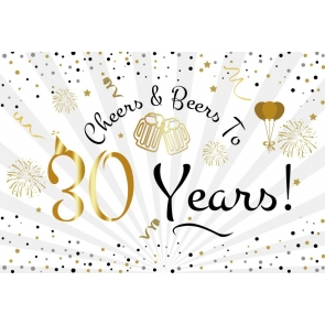 Cheers to 30 Years Party Decorations Happy 30th Birthday Backdrop Party Photography Background