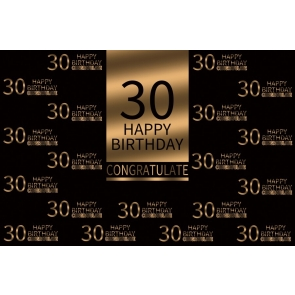 Congratulate Happy 30th Birthday Party Gold And Black Backdrop Photography Background