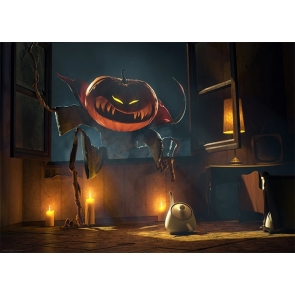 Scary Pumpkin Monster Jump Into The Window Halloween Party Backdrop Studio Photography Background