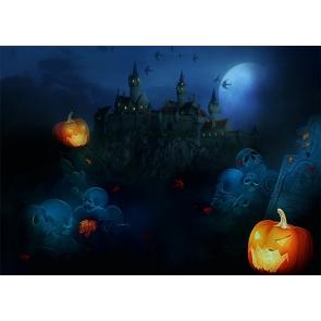 Scary Skull Pumpkin Graveyard Backdrop Halloween Party Photography Background