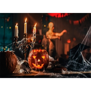 Scary Pumpkin Candlelight Halloween Backdrop Studio Stage Photography Background