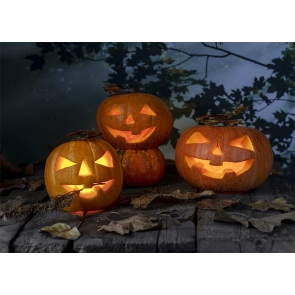 Wood Floor Pumpkin Theme Halloween Backdrop Party Studio Photography Background