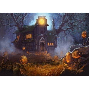 Pumpkin Wood Houses Forest Halloween Backdrop Party Studio Stage Photography Background