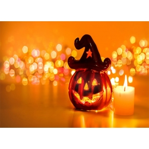 Glitter Shiny Background Pumpkin Theme Halloween Party Backdrop