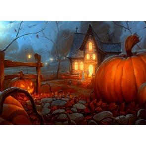 Pumpkin Theme Wood Houses Halloween Backdrop Party Studio Photography Background