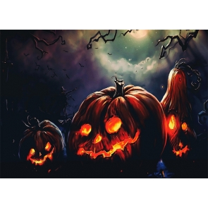 Dark Forest Scary Pumpkin Theme Halloween Backdrop Stage Party Photography Background