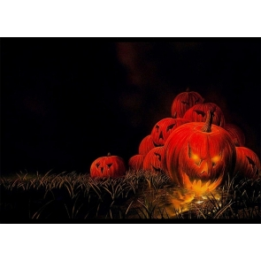 Dark Night Scary Red Pumpkin Theme Halloween Party Backdrop Studio Photography Background