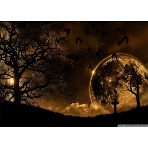Under The Gold Moon Dark Night Forest Halloween Party Backdrop Studio Photography Background
