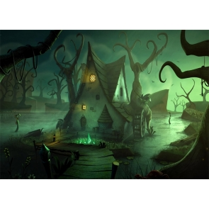 Scary Forest Tree House Halloween Backdrop Studio Stage Photography Background