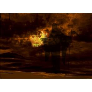 Terror Grim Reaper Scary Pumpkin Halloween Backdrop Studio Stage Photography Background