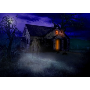 Dark Night Terror Ghost Wood House Halloween Party Backdrop Studio Stage Photography Background