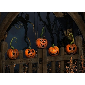 Wood Fence On Scary Pumpkin Halloween Party Backdrop Studio Stage Photography Background